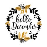 Hello December - wreath with black and gold leaves and mistletoe.