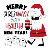 Merry Christmask And Healthy New Year! - Santa in face mask, with sanitizer.