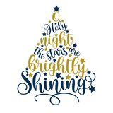 O Holy Night The Stars Are Brightly Shining -  handwritten greeting for Christmas