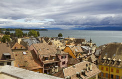 Nyon roofs and lake Geneva Royalty Free Stock Image
