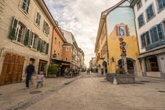 Nyon, Switzerland. Central Nyon city in Switzerland. HDR image Royalty Free Stock Image