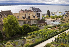 Nyon town and lake Geneva Royalty Free Stock Images