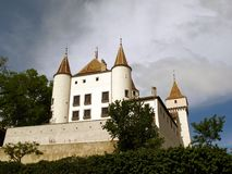 Nyon white castle, Switzerland Royalty Free Stock Photo