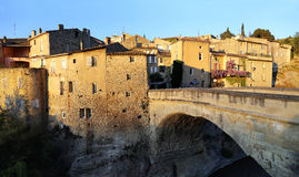 Nyons village,  Medieval bridge at sunset Royalty Free Stock Images