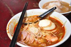Nyonya Asam Laksa Malacca Malaysia. Nyonya Asam Laksa at Malacca is one of the popular traditional dishes in Malaysia; originated from the Baba & Nyonya stock photos