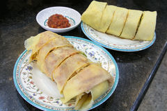 Nyonya Popiah with Chili Sauce Closeup Royalty Free Stock Image