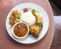 Nyonya rice with fried chicken Stock Photo