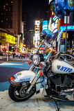 NYPD摩托车在时代广场, NYC 库存照片