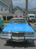 葡萄酒NYPD普利茅斯在显示的警车 库存图片