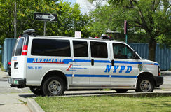 NYPD Auxiliary van in Brooklyn, NY Royalty Free Stock Photo