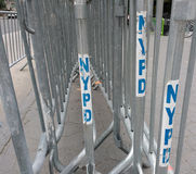 NYPD Barricades, Crowd Control, NYC, NY, USA Stock Photos
