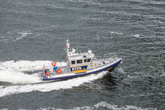 NYPD Boat Cruising Through Harbor Royalty Free Stock Photography