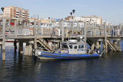 NYPD boat providing security at Sheepshead Bay in Brooklyn Royalty Free Stock Images