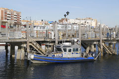 NYPD boat providing security at Sheepshead Bay in Brooklyn Royalty Free Stock Image