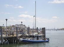 NYPD boat providing security at Sheepshead Bay in Brooklyn Stock Photos