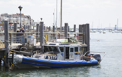 NYPD boat providing security at Sheepshead Bay in Brooklyn Stock Image