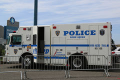 NYPD bomb squad provides security at Brooklyn Cruise Terminal during Fleet Week 2017 in New York. NEW YORK - MAY 28, 2017: NYPD bomb squad provides security at Stock Photos