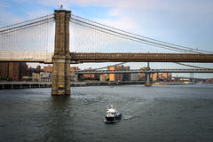 NYPD-boot op Hudson River, de Stad van New York Stock Foto