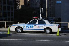 NYPD Car on Brooklyn Bridge Royalty Free Stock Image