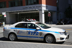 NYPD car provides security near Freedom Tower Stock Photography