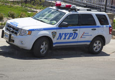 NYPD car providing security at Coney Island section of Brooklyn Royalty Free Stock Photo