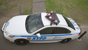 NYPD car providing security in Manhattan Stock Photo