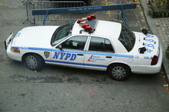 NYPD car providing security in World Trade Center area of Manhattan Stock Photos
