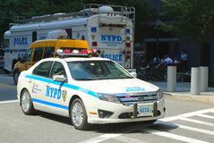 NYPD car in World Trade Center area Royalty Free Stock Photography