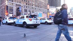 NYPD Cars. Cars of the New York Police Department parked in Times Square, Midtown Manhattan stock video