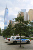 NYPD cars provide security near Freedom Tower in Lower Manhattan Stock Image