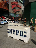 NYPD Concrete Safety Barriers, Times Square, NYC, USA Stock Photos