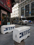 NYPD Concrete Safety Barriers, Times Square, NYC, USA Royalty Free Stock Images