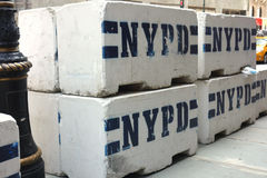 NYPD Concrete Security Blocks stock photo