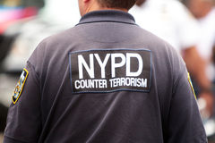 NYPD Counter Terrorism. T-shirt with sign NYPD Countet Terrorism Stock Photos