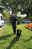 NYPD counter terrorism bureau K-9 police officer and K-9 dog providing security at National Tennis Center during US Open 2017. NEW YORK - AUGUST 21, 2017: NYPD Stock Photos