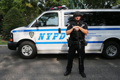 NYPD counter terrorism officer providing security. NEW YORK - August 31, 2015: NYPD counter terrorism officer providing security at National Tennis Center during Stock Photo