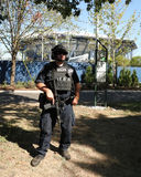 NYPD counter terrorism officer providing security. NEW YORK - AUGUST 30, 2016: NYPD counter terrorism officer providing security at National Tennis Center during Royalty Free Stock Photo