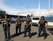 NYPD counter terrorism officers providing security. NEW YORK - AUGUST 30, 2016: NYPD counter terrorism officers providing security at National Tennis Center Royalty Free Stock Photo