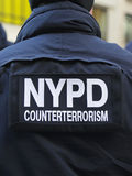 NYPD counter terrorism officers providing security on Times Square during Super Bowl XLVIII week in Manhattan Stock Photography