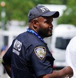 NYPD counter terrorism police officer provides security at National Tennis Center during 2018 US Open in New York royalty free stock images