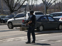 NYPD counterterrorism officer during Yankee opening game. BRONX, NEW YORK, USA - APRIL 10:  An NYPD Counter-terrorism Bureau officer walks during opening day at Royalty Free Stock Photos