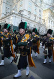 NYPD Emerald Society Band marching at the St. Patrick`s Day Parade in New York. Stock Photos