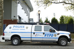 NYPD emergency service unit providing security near National Tennis Center during US Open 2013 Royalty Free Stock Image