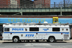 NYPD mobile command post  in Brooklyn, NY Royalty Free Stock Photo
