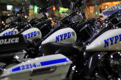 NYPD motorcycles Stock Photos