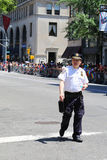 NYPD officer providing security during  LGBT Pride Parade  in NY Royalty Free Stock Images