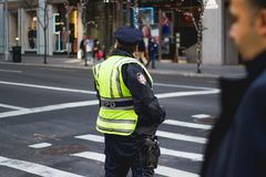 NYPD officer in new york royalty free stock image