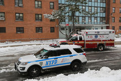 NYPD patrol car and FDNY Ambulance in Brooklyn Royalty Free Stock Photo