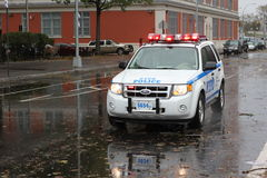 NYPD on Patrol after Hurricane Sandy Stock Photography