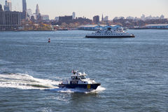NYPD patrolling boat Stock Photo
